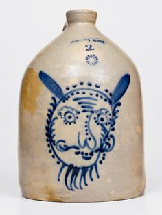 The greatest examples of American stoneware and redware we have ever sold, including many world auction records. Antique Crocks, Old Crocks, Vintage Enamelware, Glazes For Pottery, Glazed Pottery, Nice Jugs, Antique Bottles, Heart Decorations, Bottles And Jars