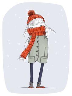 How I feel this winter. Winter Illustration, Christmas Illustration, Cute Illustration, Character Illustration, Sweet Drawings, Cool Drawings, Knit Art, Winter Art, Whimsical Art