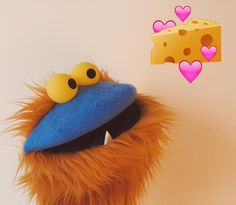 This guy LOVES cheese. # # #puppet