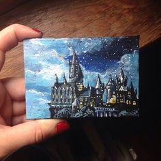 for best friends harry potter Items similar to Hogwarts Castle on Etsy Harry Potter Kunst, Arte Do Harry Potter, Harry Potter Painting, Harry Potter Drawings, Harry Potter Canvas, Small Canvas Paintings, Small Canvas Art, Mini Canvas Art, Mini Paintings