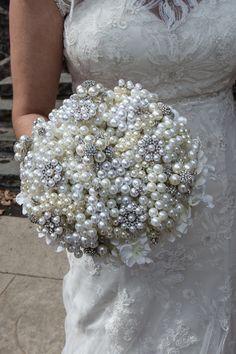 Pearl & Crystal Bouquet Handmade. No Deposit Full Price by rakkaya, $250.00