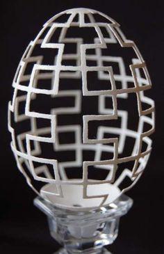 geometric egg carving