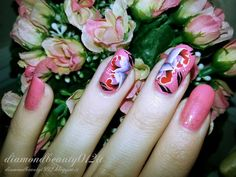 DiamondBeauty's Nail Art Space: Coral Spring Roses Nail Art Tutorial Step by Step 2015