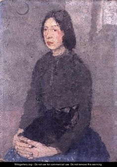 Girl with a Cat on her Lap - Gwen John Crazy Cat Lady, Crazy Cats, Woman Painting, Painting & Drawing, Gwen John, Impressionist Paintings, Impressionism, Portraits, Portrait Paintings