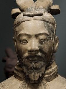 A Terra Cotta general; the armies of Qin Shi Huang, the first Emperor of China were replicated in terra cotta pottery sculptures. It is a form of funerary art buried with the emperor in 210–209 BC and whose purpose was to protect the emperor in his afterlife. Xian, China