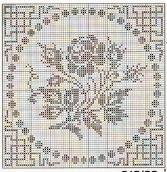 Roses in filet crochet Filet Crochet Charts, Crochet Cross, Crochet Motif, Crochet Patterns, Cross Stitch Rose, Cross Stitch Flowers, Cross Stitch Embroidery, Embroidery Patterns, Crochet Curtains