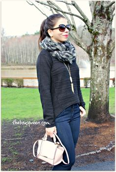 Stitch Fix December 2015 Review & Styling Hi/low Sweater, dark wash denim, rose quartz bag, Casual outfit idea