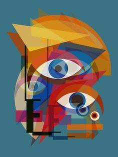 "Saatchi Art Artist Czar Catstick; Collage, ""Bauhaus Bowie (Changes on Blue) - Abstract David Bowie Portrait Edition #1 of 2"" #art"