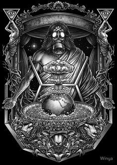 """Winya No. 104"" Posters by Winya | Redbubble  #hearnoevil #seenoevil #speaknoevil , three wise monkeys,illuminati,zionism, greedy,surreal,neo traditional,bomb,world,earth,star,space,sheep,tree,gas mask,gothic,demon,christian,jesus,satan,horror,skeleton,art line,popular,baroque,black and white,sacred geometry,death metal,dead,geometry,sacred,skull,tattoo,hell,heaven,fantasy,mystical,dark,monster,spirit,immortal,pop culture,chicano,triangle,third eyes"