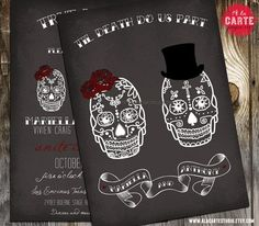 Til Death Do Us Part Chalkboard Inspired Wedding Invitation - Skull Wedding. $15.00, via Etsy.