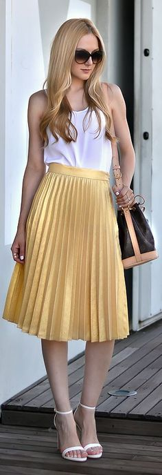 Zara Gold Accordion Pleats High Waist Midi A-skirt by Oh My Vogue