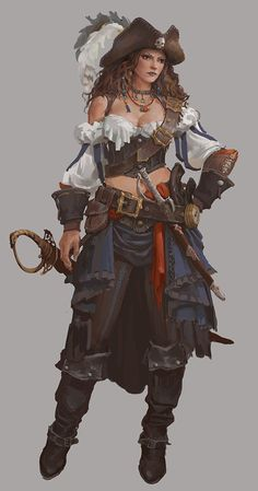 f Rogue Thief Pirate Light Armor Hat Sword Dagger Pistol coastal urban city lg (saved) Pirate Art, Pirate Woman, Pirate Life, Lady Pirate, Pirate Wench, Dnd Characters, Fantasy Characters, Female Characters, Fantasy Women