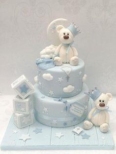 Baby Shower Cake Christening bears – Cake by Samantha's Cake Design – CakesDecor Baby Cakes, Baby Birthday Cakes, Cupcake Cakes, 3rd Birthday, Baby Shower Cakes For Boys, Baby Boy Shower, Christening Cake Boy, Baptism Cakes, Gateau Baby Shower