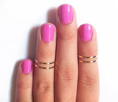 4 Above the Knuckle Rings  gold thin shiny rings  set by galisfly, $15.99