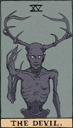 "The Devil, Tarot cards using characters from NBC's ""Hannibal"" antlers, favors the Wendigo, La Danse Macabre, Satanic Art, Arte Obscura, Arte Horror, Major Arcana, Tarot Decks, Dark Art, Art Inspo, Illustration"