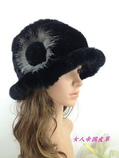 H111-New 2014  nature rex rabbit  women knitted  fur  cap for winter and fall black purple white gray women fur hats