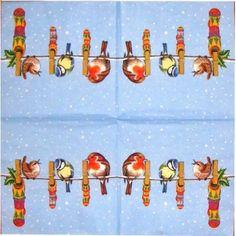 Servilleta decorada pájaros con calcetines