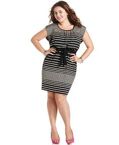 Love squared cap-sleeve striped belted dress from Macy's.