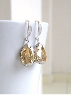 e07a5c432a5e8e Swarovski Champagne Golden Shadow Foiled Pear Stone by SomsStudio