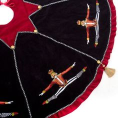 Nutcracker Tree Skirt: Inspired by the winter night in the pine forest when our hero is transformed into a dashing prince, the Nutcracker Textiles Collection are simultaneously dark and exuberant. Rich, black velvet is embroidered with a handsome characte White Xmas Tree, White Christmas, Christmas 2017, Christmas Decorations, Christmas Ornaments, Holiday Decorating, Christmas Trees, Merry Christmas, Xmas Tree Skirts