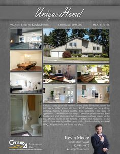 PRICE CHANGE  Warm, open-plan masterpiece on Finn Hill. Three K-12 schools in walking distance. Peekaboo view of Mt. Rainier. Modern kitchen with Italia Kenmore Elite appliances, hooded induction range, and double oven/microwave. Four levels uniquely designed for airy indoor-outdoor living. 4+1 bedrooms/huge bonus  Contact Kevin Merritt Moore @ (425) 891-9872 MLS # 1150136 http://9222ne139thst.c21.com/