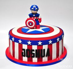 Captain America Cake  Cake by SweetSuccess...I suppose this could work with any superhero