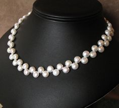 Handmade white pearl and sterling silver necklace by Bethany Rose Designs. Handcrafted jewelry at www.BethanyRoseDesigns.etsy.com