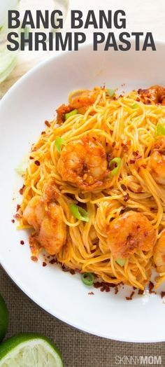 I promise your family will absolutely love this dish, and it's only 350 calories! Bang Bang Shrimp Pasta for a Win Win with the Family!