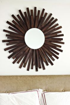 Wood shim starburst mirror - freakin' awesome!