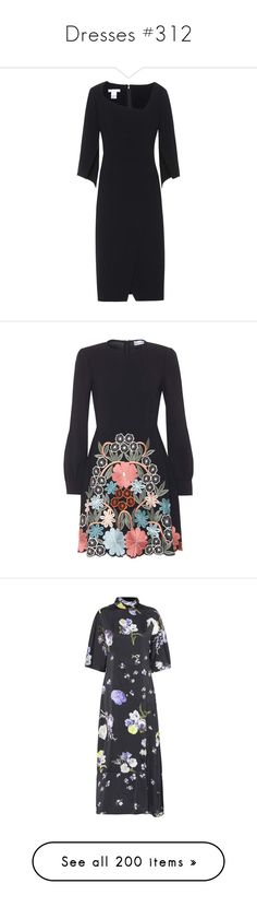 """""""Dresses #312"""" by bliznec ❤ liked on Polyvore featuring dresses, black, woolen dress, oscar de la renta, oscar de la renta dresses, wool dress, broderie dress, red valentino dress, embroidered dress and crepe fabric dress"""
