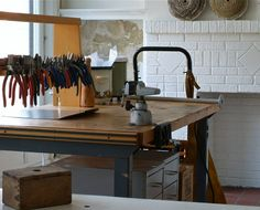 new studio by grindstonegirl ( kathi roussel )Check out that pliers rack.  I am drooooooling.