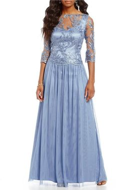 Brianna Embroidered Sequin Mesh Gown