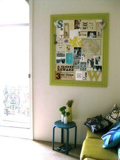 Moodboard pinboard; terrific scrapbook living on a wall!