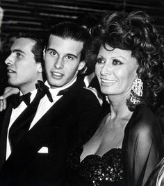 Sophia Loren with her sons Carlo (musician and conductor with Grand Russian National Orchestra) and Edoardo (script writer and director)