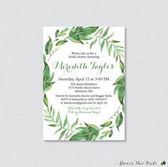 Bridal Shower Invitation Printable or Printed - Green Bridal Shower Invites - Green Botanical Wreath Bridal Shower, Classic Simple 0021