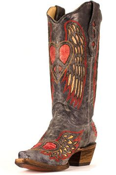 Corral Women's Black/Red Winged Peace and Heart Cowgirl Boots