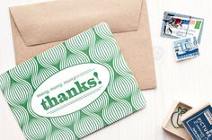 Many Many Many Thanks  Letterpress card with kraft by EvaenAnne
