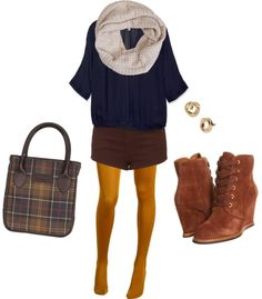 fall outfit idea: maroon shorts and mustard tights, cozy scarf, brown boots, plaid bag
