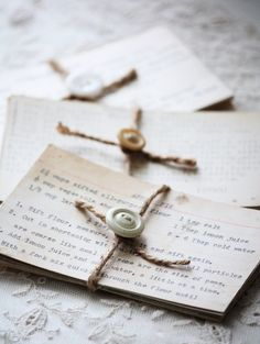 Cute idea for gifting old family recipe cards... in bundles of 5 to 10 Index Cards. Could photocopy recipes so that family members could have the same family recipes....