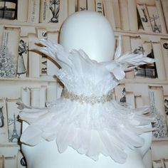 Elizabethan White Goose Feather and Lace High by DelltonCouture