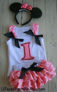 1st Birthday Girl Cake Smash ruffle bloomers polka dot minnie mouse12-18mo