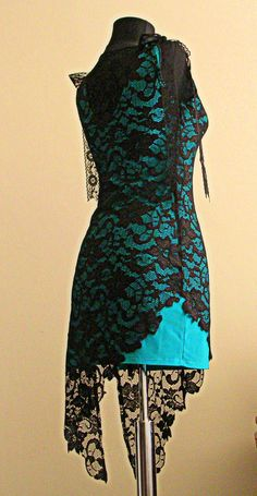 Black and Turquoise Lace Dress