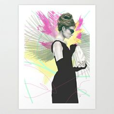 Breakfast at Tiffany's Fashion Illustration Art Print by Clover Chen - $18.00