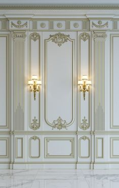 White Wall Panels In Classical Style With Gilding Rendering Wall Mural White Wall Paneling, Wall Trim, Black Walls, White Walls, Panelling, Rendering Walls, 3d Rendering, Interior Walls, Home Interior Design