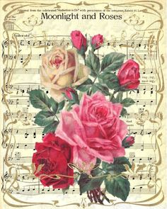 Pretty idea to decoupage roses onto a sheet of music. Decoupage Vintage, Decoupage Paper, Vintage Diy, Vintage Ephemera, Vintage Cards, Vintage Paper, Vintage Postcards, Clipart Vintage, Vintage Flower Backgrounds
