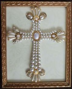 Vintage Framed Christmas Tree Jewelry Cross Picture Religious OOAK Christian Art availabe on ebay