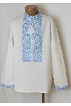«Оберіг» з блакитним орнаментом – вишиванка для хлопчиків з традиційною  вишивкою. Завжди в. « 05aab1e5adad1