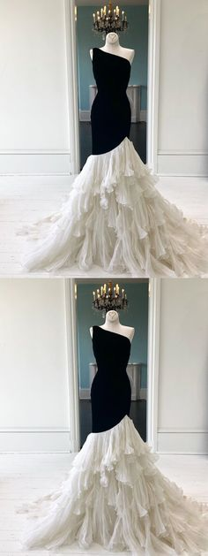 Unique black one shoulder long prom dress, mermaid evening dress, Customized service and Rush order are available Inexpensive Wedding Dresses, Affordable Bridesmaid Dresses, Unique Prom Dresses, Prom Dresses Online, Beautiful Dresses, Formal Dresses, Party Dresses, Layered Dresses, Amazing Dresses