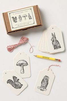 letterpressed woodland gift tags.