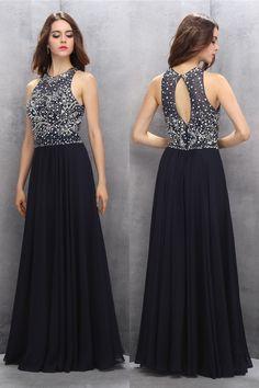 Black Beaded Chiffon A-line Long Prom Dresses,Elegant Prom Dress,Pretty Prom Dress